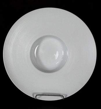 "Hat Bowl White Ceramic 12.5"" - Ridged"