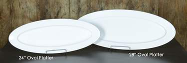 "White Melamine Slim Oval Platters - 28"" Oval"