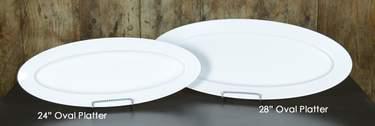 "White Melamine Slim Oval Platters - 24"" Oval"