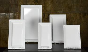 """White Rectangular Melamine Platters - 13""""x22"""""""