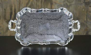 "Rectangular Footed Silver Tray 13""x23"""