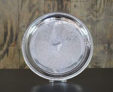 Round Silver Passing Tray 14""