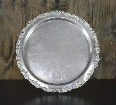 Round Ornate Silver Tray 19""