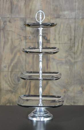 Four Tiered Square Hammered Silver Tray