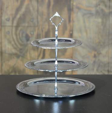 Three Tiered Ornate Silver Tray