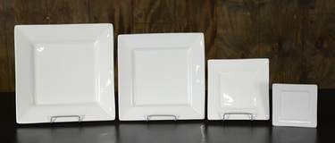 Square White Dishware - Dinner Plate