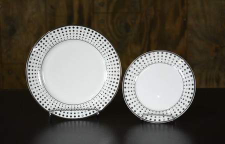 Platinum Dots China - Salad Plate