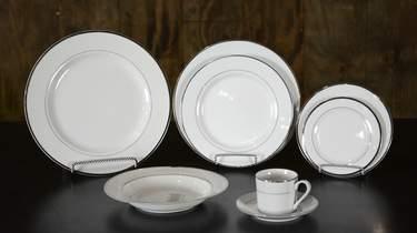 White w/ Double Platinum Rim China - Dinner Plate