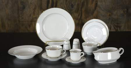 Ivory w/ Gold Rim China - Dinner Plate