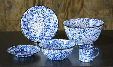 Speckled Blue Tin Dishware