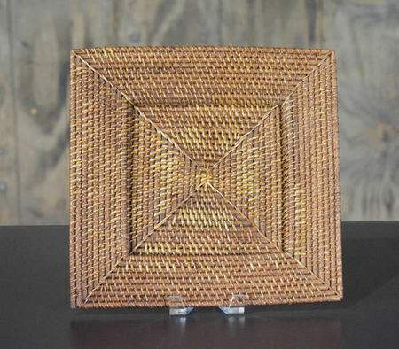 """13.5"""" Square Rattan Charger"""