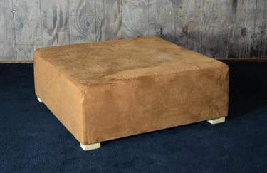 4'x4' Rust Suede Ottoman