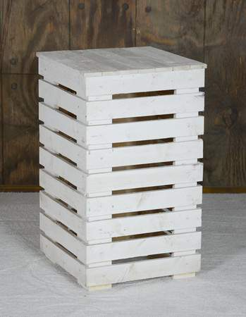 Side Table White Pallet Rectangular