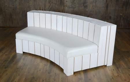 White Pallet Curve Banquette