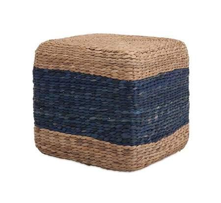 Grass Cube Blue Stripe Pouf