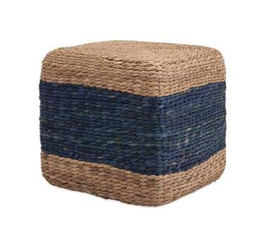Grass Cube Blue Stripe Pouf