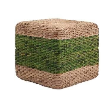 Grass Cube Green Stripe Pouf