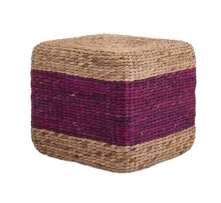 Grass Cube Purple Stripe Pouf
