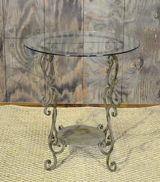 Victoria Iron w/ Glass Side Table