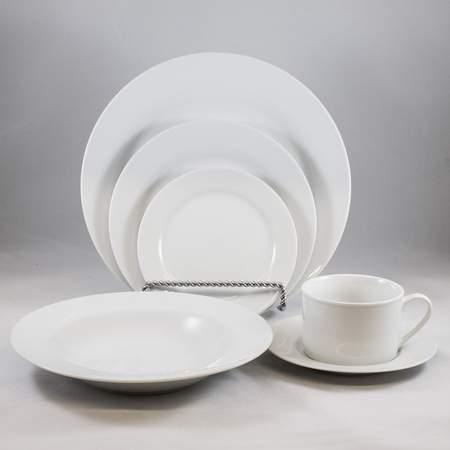 """White Rimmed 10.5"""" Dinner Plate"""