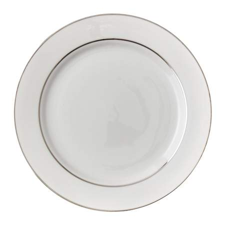 """White Double Silver Banded Porcelain Charger Plate 12.25"""""""