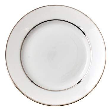 White Double Silver Banded Porcelain Saucer