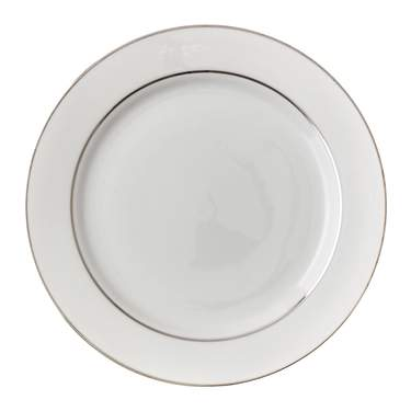 White Double Silver Banded Dinner Plate 10.75""