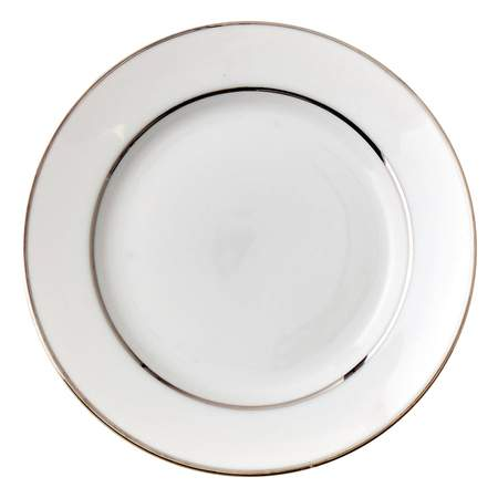 """White Double Silver Banded Soup Bowl 9"""""""