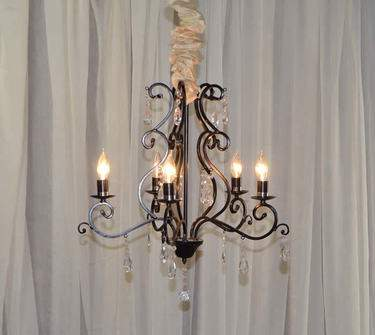 5 Light Black Iron & Crystal Chandelier