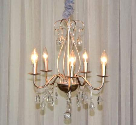 5 Light Pewter Crystal Chandelier