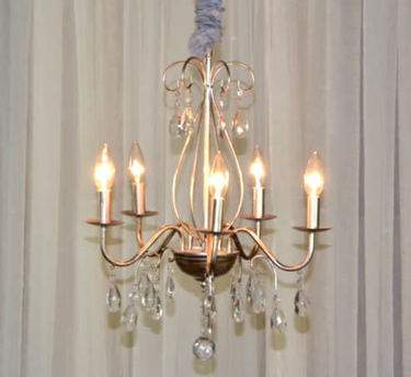 5 Light Pewter Crystal Chandelier