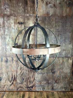 6 Light Metal Wood Sphere