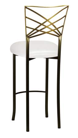 Two Tone Gold Fanfare Barstool with Metallic White Knit Cushion