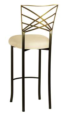 Two Tone Gold Fanfare Barstool with Champagne Metallic Knit Cushion