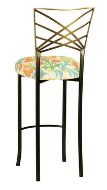 Two Tone Gold Fanfare Barstool with Floral Bloom Boxed Cushion