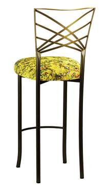Two Tone Gold Fanfare Barstool with Yellow Paint Splatter Knit Cushion
