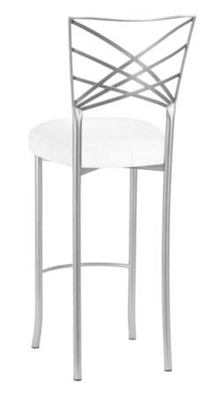 Silver Fanfare Barstool with White Linette Boxed Cushion