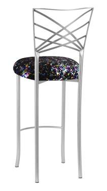 Silver Fanfare Barstool with Black Paint Splatter Knit Cushion