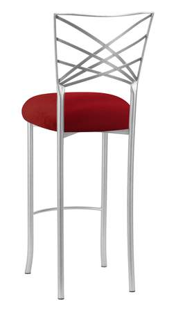 Silver Fanfare Barstool with Red Velvet Cushion