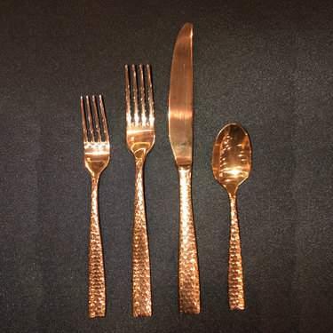 Hammered Rose Gold Salad Fork