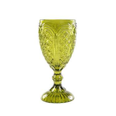 11oz Olive Green Carousel Glass Goblet