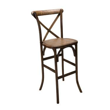 Antique Wood Farm X-Back Barstool