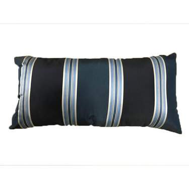 Navy Kidney Suit Stripe Pillow