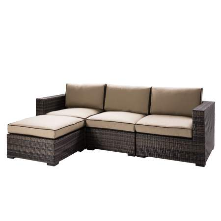 Tan Boca Sofa with Ottoman