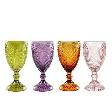 Colored Carousel Glass Goblet Collection