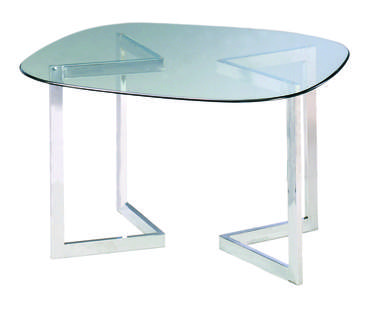 Glass Geo Conference Table with Chrome Base