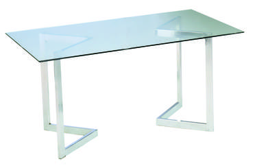 Glass Geo Cocktail Table with Chrome Base