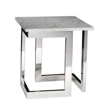 Marble Geo End Table with Chrome Base