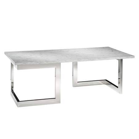 Marble Geo Cocktail Table with Chrome Base