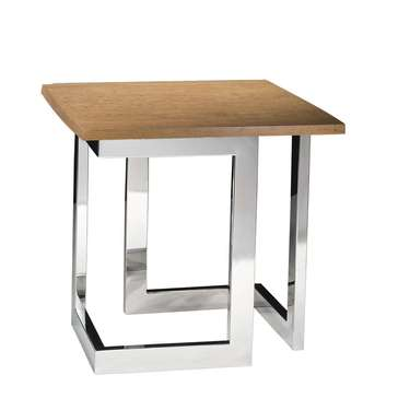 Wood Geo End Table with Chrome Base